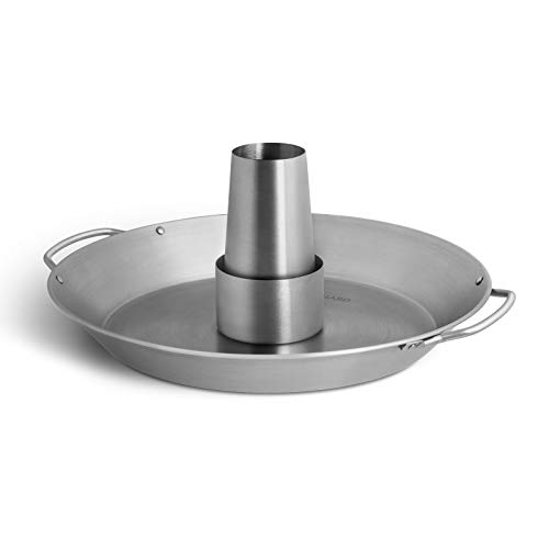 BURNHARD Supporto di Cottura per Pollo in Acciaio Inox Spazzolato, Rostiera per Pollo con Contenitore per Aromi Rimovibile, Accessorio per Il Vostro Barbecue