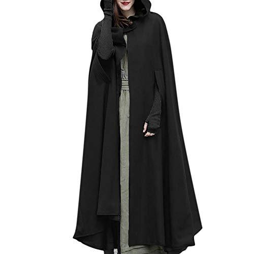 NPRADLA 2018 Mittelalter Umhang Damen Kapuze Einfarbig Elegant Frauen Trenchcoat Open Front Cardigan Jacke Mantel Cape Poncho Oversized(L,Schwarz)