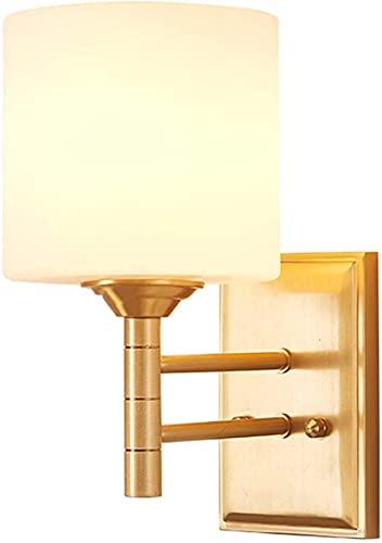 Bordslampa sovrum, klassisk gyllene koppar vägglampa, vit glaslampskärm, inomhus vägglampa, rumsdekoration, vägglampskärm, korridor, vardagsrum, sovrum vid sängen