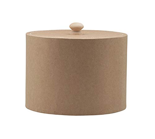 Glorex 6 2027 046 – Caja Redonda de cartón Natural, con Tapa, Aprox. 16,5 x 12 cm, como Caja de Regalo, para Almacenamiento o como joyero, se Puede Personalizar
