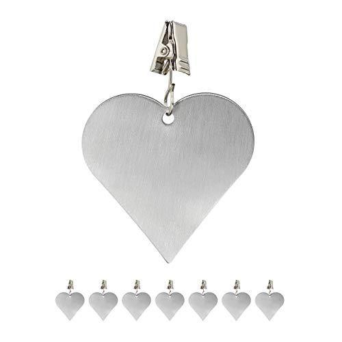 Relaxdays 8 Sujeta Manteles, Pinzas Decorativas, Pesos Hule, Diseño Corazón, Acero Inoxidable, Plateado, 1 Set