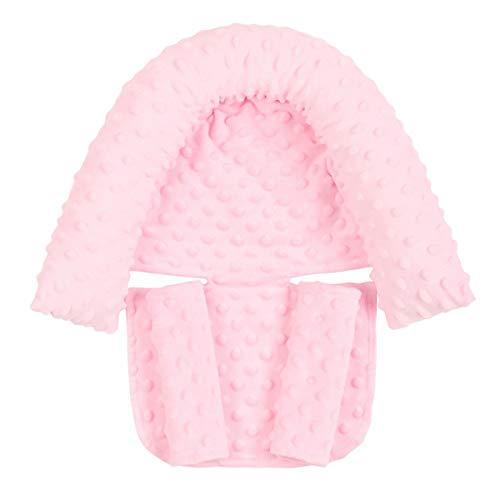 DERCLIVE - Almohada de apoyo para la cabeza de bebé con correas a juego con fundas de correa de cinturón Minky Dot para cochecito de bebé, 5 colores