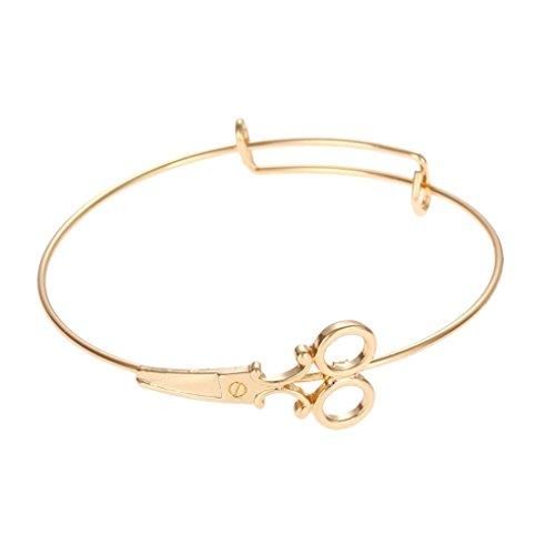 Fengyuanhong Modische Frauen-Schere Design Anhänger Armband Simple Frauen Armbänder vergoldeter Legierung Girl Adjustable Rose Gold Armreifen Dame Gift Schmuck