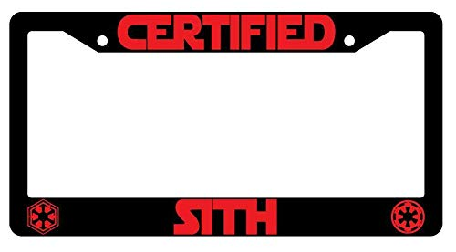 License Plate Frames, Certified Sith Black Metal License Plate Frame Star Wars Applicable to Standard car Unisex-Adult Car Licenses Plate Covers Holders Frames for Plates 15x30cm