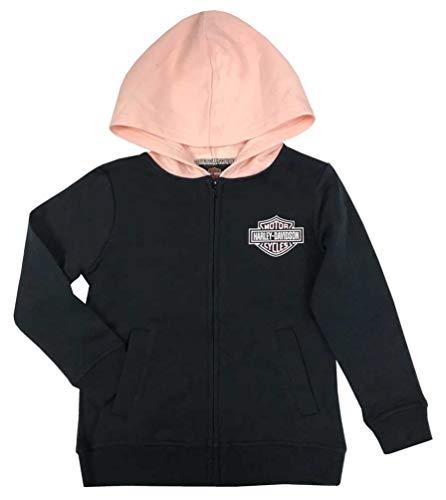 Harley-Davidson Little Girls' B&S Fleece Lined Hooded Zip Jacket 6534009 (4) Black