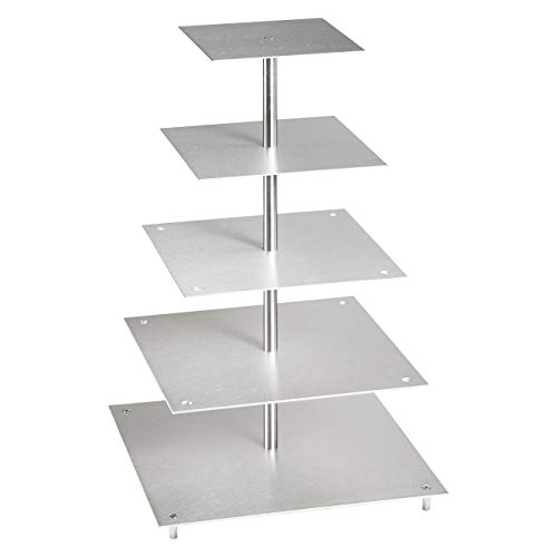 Présentoir à gâteaux rectangulaire en aluminium à 5 étages - 21 x 21-26 x 26-31 x 31-36 x 36-41 x 41 cm