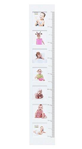 Deknudt Kinder Messlatte für 7 Fotos in 10x10 cm Wachstumsmesser in Weiß Rosa Blau: Farbe: Weiß