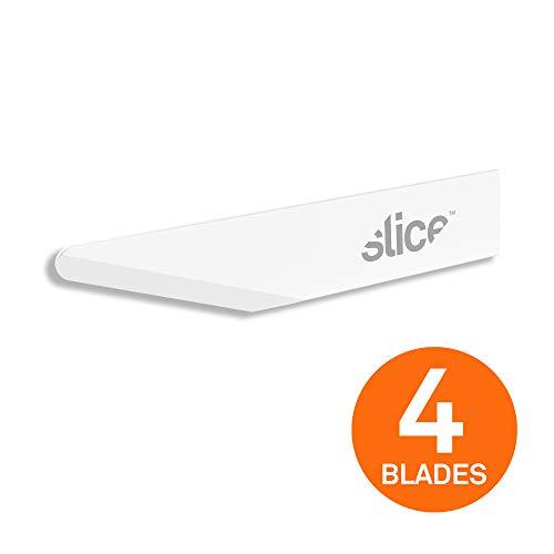 SLICE 10518 Lames de Rechange, Lames Artisanales, Angulaires, Céramiques, Blanches (Paquet de 4)