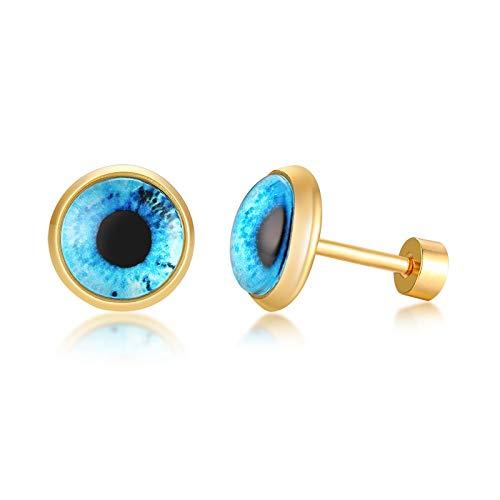 Pendientes de ojos azules malvados protección espiritual pendientes redondos para las mujeres de acero inoxidable joyería turca