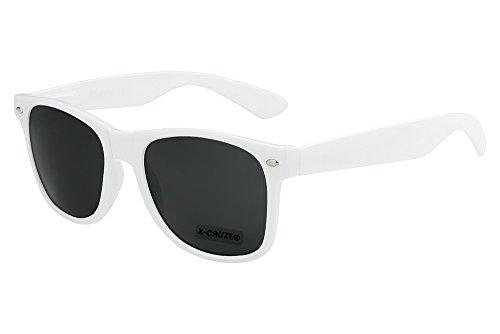 X-CRUZE 8-004 - Gafas de sol nerd retro vintage unisex hombre mujer gafas nerd - blanco
