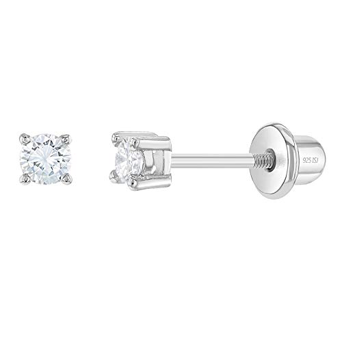 925 Sterling Silver Clear CZ Stud Baby Earrings Screw Back Fits Toddlers to Kids 2mm