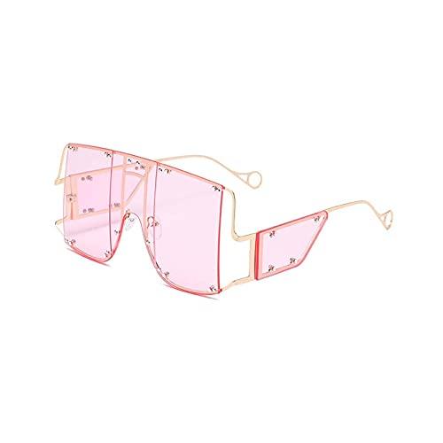 HHZ Las Gafas de Sol rectangulares polarizadas de Las señoras, Gafas de Sol de Marco Grande de Metal, Gafas de Sol clásicas Anti-UV, Rosado