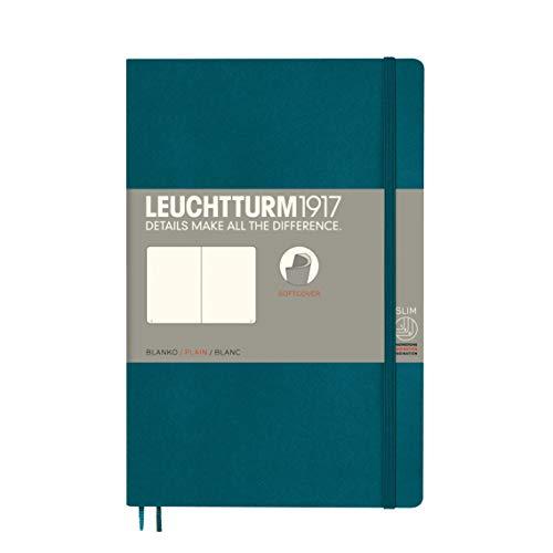 Leuchtturm1917 359680 notitieboek Paperback (B6+) blanco, softcover, 123 genummerde pagina's, Pacific Green