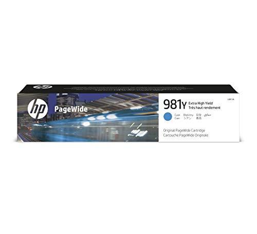 HP 981Y L0R13A, Cian, Cartucho de Tinta de Alta Capacidad PageWide Original, de 16.000 páginas, compatible con impresoras de inyección de tinta HP PageWide Enterprise Serie 556 y MFP 586