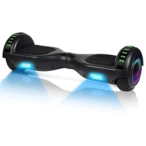 Hoverboard-Hoverboard para niños, aerotabla autoequilibrante de Dos Ruedas de 6.5 Pulgadas, con Bluetooth y Luces Intermitentes LED, Adecuado para niños de 6 a 12 años (Negro)