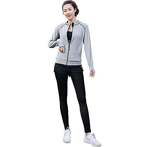 SCHUANG Damen 5Pcs Yoga Anzug T-Shirt BH Mantel Hose Shorts Set Jogging Fitness Gym Damen Soprt Wear Trainingsanzüge Sweat Activewear Hellgrau M-2XL,LightGrey-L