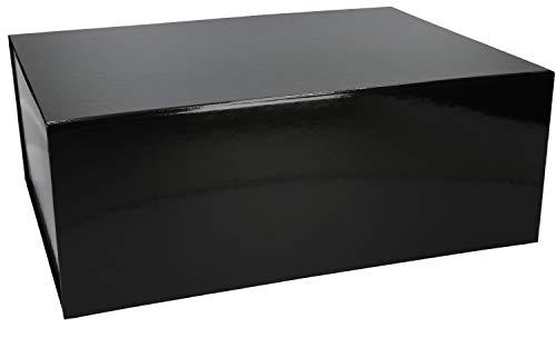 Magnetfaltbox 40x30x15cm hochwertige Geschenkverpackung für Geburtstag, Weihnachten, Hochzeit Geschenke Schachtel, Artikel Farbe:schwarz glänzend