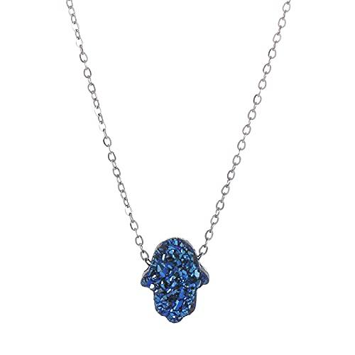 Collar con colgante de mano de ópalo para mujer de Fátima, oro y plata, cadena de acero inoxidable, adorno de moda