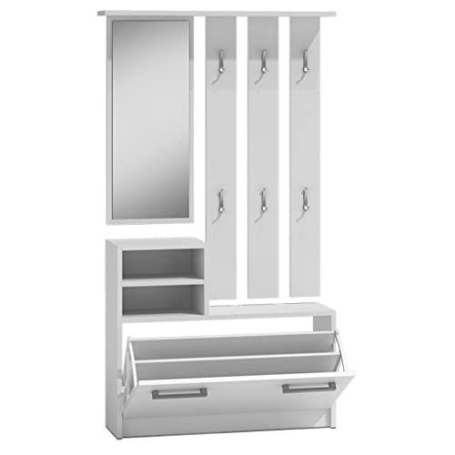 ZPDD Mueble de Entrada Espejo y Zapatero Blanco 85 cm