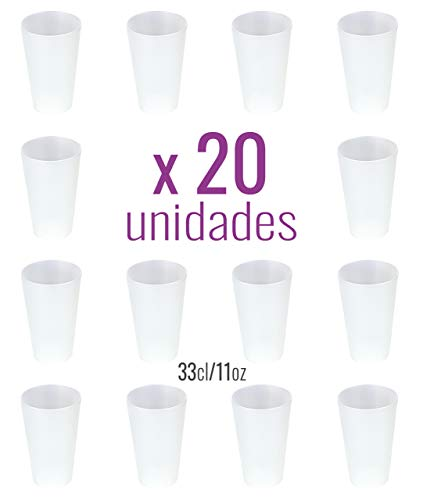 Monteluz - Pack de 20 Unidades Vasos de Plástico Duros Irrompibles Reutilizables de Polipropileno - Vasos Grandes Aptos para Agua, Mojitos o Bien Gin Tonic - Sin Bpa - Ecológicos - 33cl