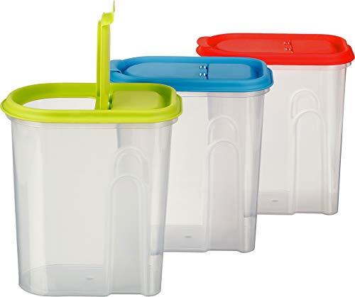 Kigima Müsli Cornflakes Schüttdose große Vorratsdose 2 Liter 3er Set grün/blau/rot