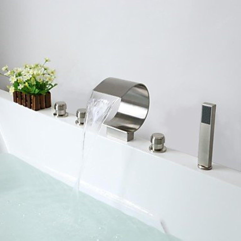 Lozse zeitgenssische Nickel gebürstet fünf Lchern drei Griffe Wasserfall Armatur Badewanne mit Handbrause
