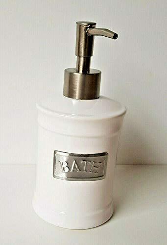 Testrut - Dispenser per sapone Lyon, ca. 8,5 x 8,5 x 18 cm, in acciaio inox e ceramica