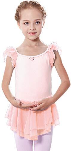 MdnMd Ruffle Sleeve Tutu Skirt Ballet Dance Leotard for Toddler Girls (Ballet Pink, Age 2-4 / 2t,3t)