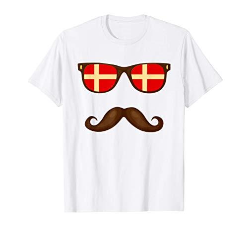 Bandera Danesa Dinamarca Gafas & Bigote Camiseta