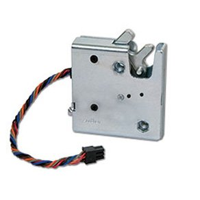 Southco R4-EM-11-161 Electronic Rotary Push-to-Close Latch, Auto Relock, with Latch Status Microswitch, Non-Sealed Connector, 1/4-20 Thread, Steel Housing, Zinc Plate, Bright Chromate