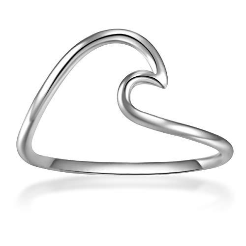Glanzstücke München Damen-Ring Welle Sterling Silber - Ring mit Wellen Wellenform Trendsymbol maritim