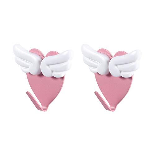 SOIMISS 2 ganchos de pared en forma de corazón para colgar bolsos, abrigos, toallas, sombreros, utensilios de cocina, ganchos adhesivos sin costuras, para cocina, baño, puerta de pared (rosa y blanco)