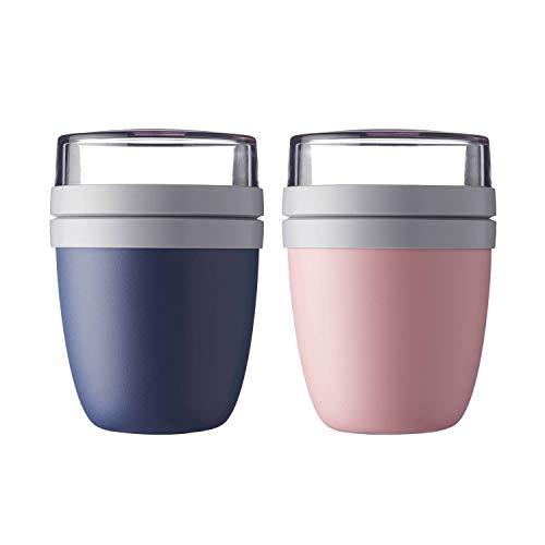 Mepal \'Ellipse\' Lunchpot to go 500 ml & 200 ml, Farbe & Stückzahl:Nordic Pink & Nordic Denim