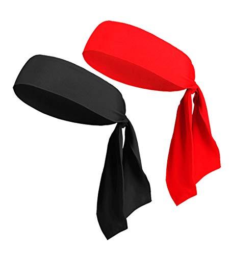 Head Tie Headbands for Men Women Kids Girls Boys, Sports Headbands Bulk, Pirate Headwrap Headtie Head Scarf Bandana (2Pack Black & Red)