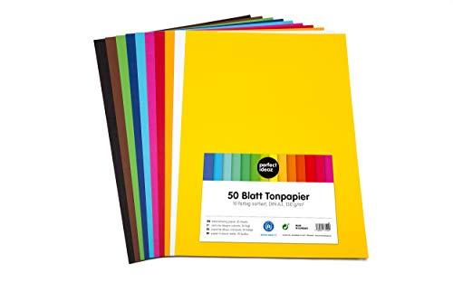 perfect ideaz 50 Blatt buntes DIN-A3 Ton-Papier, Ton-Zeichen-Papiere bunt, Set aus 10 Farben, bunte Blätter in 130g/m², Bastel-Bogen farbig, Zubehör zum Basteln, farbiges Material, DIY-Bedarf