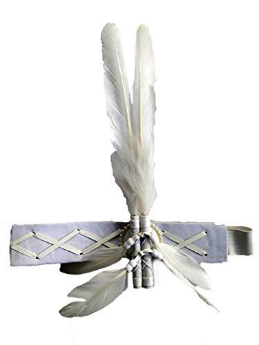 Theworldoffeathers Diadema de Plumas para Adultos | Inspirado en los Indios nativos Americanos | Accesorio de Disfraz Divertido | Tocado (Blanco)