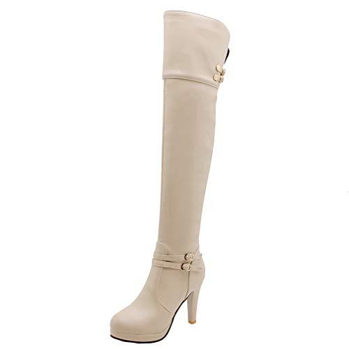 MISSUIT Damen Stiletto Overknee Stiefel High Heels Plateau Boots mit Schnallen und Reißverschluss Langschaftstiefel Herbst Winter Schuhe(Weiß,38)
