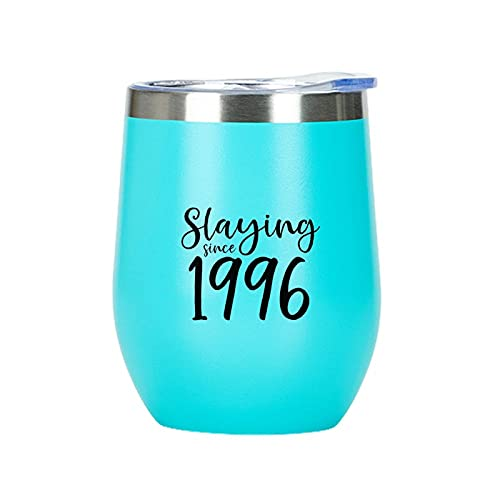 Vaso de vino de doble pared al vacío, vasos para champaign coctel cerveza aislado vino vaso con tapa Slaying desde 1996 regalo para niños hombres y mujeres vaso de vino con tapa azul claro