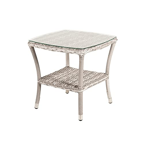 Edenjardi Mesa de terraza Auxiliar, Tamaño: 50x50x55 cm, Aluminio y ratán sintético Plano Color...