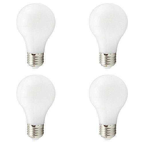 A19 E27 LED Birnen, Solarbetriebene Lampe A60, Niederspannung AC DC 12V-24V 4W, 40W Traditionelles Licht Äquivalent, 400Lumen 360 Grad, Warm Weiß 3000K für RV Camper Marine, 4er Pack