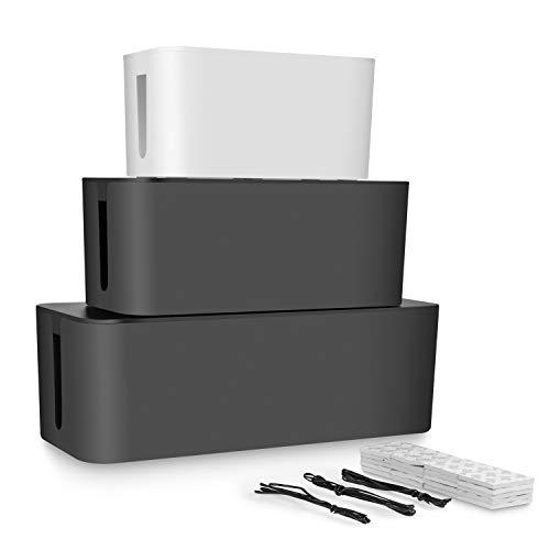 STARVAST 3Pcs Boîte de Rangement pour Câble de Bureau Blanc et Noir, Boîte Cache-Câble pour à la Maison, Masquer Le Plomb d'extension et Les Câbles Électriques - Tailles pour Grand, Moyen, Petit
