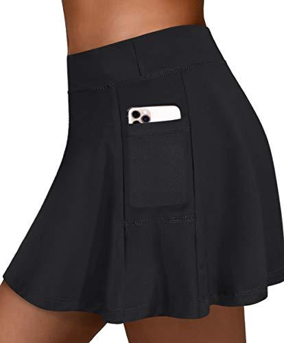 Fulbelle Womens Golf Skirt, Tennis Black Skirts for Teen Girls Built in Short High Waisted Performance Skort Functional Casual Summer Skorts Gym Fitness Exercise Activewear X-Large