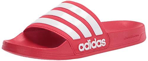 adidas Men's Adilette Shower Slide Sandal, Scarlet/White/Scarlet, 10