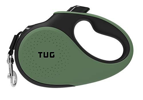 TUG 360° Tangle-Free, Heavy Duty Retractable Dog Leash for Up to 55 lb Dogs; 16 ft Strong Nylon Tape/Ribbon; One-Handed Brake, Pause, Lock (Medium, Green)