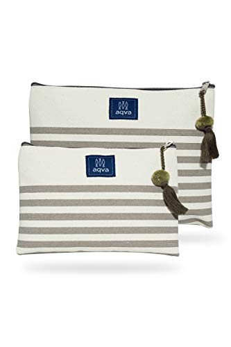 AQVA Pack of 2 Cotton Canvas Multipurpose Cosmetic Organizer Bag With Zipper - Eco-Friendly Travel Toiletry Pouch, DIY Craft Bag - Perfect for Stationary, Outdoor Activity (Large, Baby Stripe Beige)