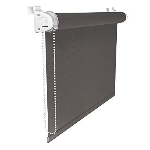 Victoria M. Klemmfix Verdunkelungsrollo ohne Bohren Rollo 45 x 150 cm, Grau, Seitenzugrollo Verdunkelung für Fenster und Türen