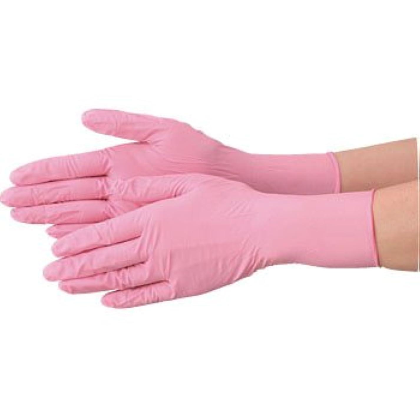 おっと石のグループ使い捨て 手袋 エブノ 570 ニトリル ピンク Lサイズ パウダーフリー 2ケース(100枚×60箱)
