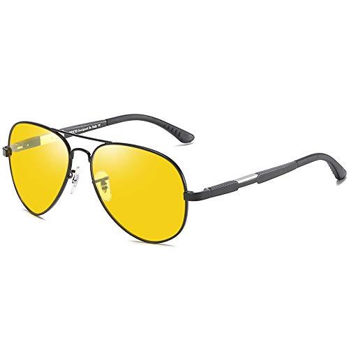 DUCO Herren und Damen Pilotenbrille Nachtfahrbrille mit Leichte Metallrahmen Nachtsichtbrille Autofahren Anti Glanz Polarisiert KontrastBrille 3026 (Schwarz)