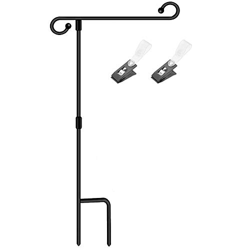 SSRIVER Garden Flag Stand Pole Holder with Anti-Wind Clip 35.5' H x 17.5' W for Premium Metal Wrought Iron Powder Coated Weather-Proof Paint Steel (Black FlagPole- 1)