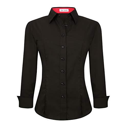 Alex Vando Womens Dress Shirts Regular Fit Long Sleeve Stretch Work Shirt,Black,S